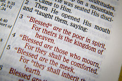 """Bible text with the Blessings. Bible text from Matthew 5. about Blessings. """"Blessed are the poor in spirit, For theirs is the kingdom of heaven. 4 Blessed royalty free stock photos"""