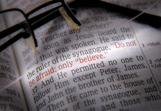 Bible text and glasses Stock Photos