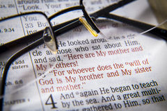Bible text and glasses Royalty Free Stock Images