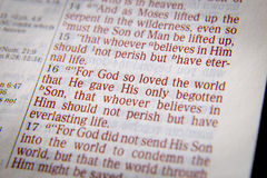 Bible text -  God so loved the world - John 3:16 Stock Photos