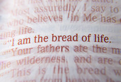Bible text - I am the bread of life - John 6:48 Royalty Free Stock Photography