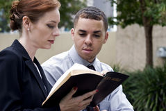 Bible Time Coworkers Royalty Free Stock Photography