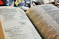 The Bible at trash, symbol. The Bible on a pile of trash expressing the disregard for religious sayings and christian education Royalty Free Stock Photos