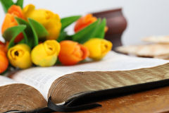 Bible and tulips Royalty Free Stock Images
