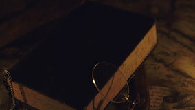 The bible and the two candles on the side stock footage