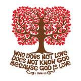 Bible typographique Qui n'aime pas, ne connaît pas Dieu, parce que Dieu est amour illustration libre de droits