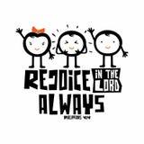 Bible typographique Réjouissez-vous dans Lord Always illustration libre de droits