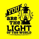 Bible typographique Vous êtes la lumière du monde illustration stock