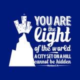 Bible typographique Vous êtes la lumière du monde, une ville réglée sur une colline ne pouvez pas être caché illustration stock
