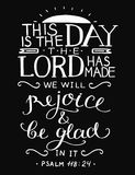 Hand lettering with bible verse This is the day the Lord has made on black background. Psalm. Bible verse This is the day the Lord has made. Psalm. Christian Stock Photos
