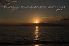 Free Bible Verse John 1:5 The Light Shines In The Darkness And The Darkness Has Not Overcome It. Stock Image - 209518861