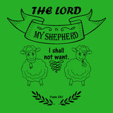 Bible verse the Lord is my Shepherd. With two lambs Vector Illustration
