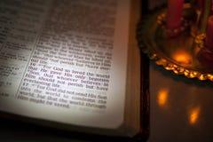 Bible verse 3.16. Open Bible and Bible Verse. John 3.16 Stock Image