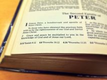 """Bible verse - 2 Peter 1:2. Focus on 2 Peter 1:2 """"Grace and peace be multiplied to you in the knowledge of God and of Jesus our Lord Royalty Free Stock Image"""
