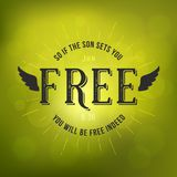 Bible verses from new testament. If the son sets you free from John and wing, christian typography poster on bokeh background Stock Image