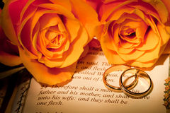 Bible wedding. Roses and bible with Genesis text of Adam and Eve, a typical wedding text - the book illustration is copied from a 400 years old bible Stock Photos