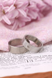 Bible and wedding rings. Titanium wedding rings on the Bible open to 1st Corinthians 13, a passage about love. Shallow dof Royalty Free Stock Photo