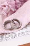 Bible and wedding rings. Titanium wedding rings on the Bible open to 1st Corinthians 13, a passage about love. Shallow dof Stock Photo