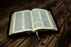 Bible on wooden board Stock Photo