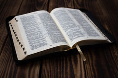 Bible on wooden board Royalty Free Stock Image