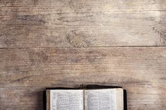 Bible on a wooden desk royalty free stock image