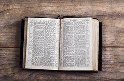 Bible on a wooden desk Royalty Free Stock Images