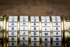Bible word as password. Bible word as a password to combination puzzle box with rings of letters Stock Image