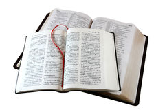Bibles Isolated on White. Bibles in different languages (English and Chinese versions Stock Photography