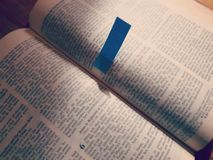 Bibles and Messages. Bibles and blue notes stock image