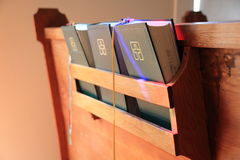Bibles on a Pew Royalty Free Stock Photography