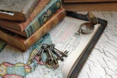 biblia antykwarscy klucze Zdjęcia Stock
