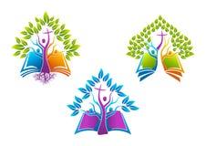 Biblia chrześcijański drzewny logo, książki ikony świętego ducha korzeniowa rodzina, ludzie kościelnego wektorowego symbolu proje