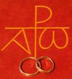 Biblia con los anillos de bodas Fotografía de archivo libre de regalías