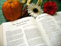 Biblia de la acción de gracias Foto de archivo libre de regalías