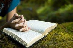 Biblia de la lectura de la mujer joven Imagen de archivo libre de regalías