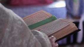 Biblia en las manos almacen de metraje de vídeo