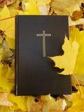 Biblia Sagrada Biblia con las hojas de otoño Imagen de archivo libre de regalías