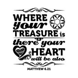 Biblia tipográfica Donde está su tesoro, allí su corazón estará también stock de ilustración
