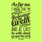 Biblia typograficzna Znam że mój odkupicieli życia przy kopyto_szewski stoi na ziemię, i royalty ilustracja
