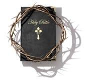 Biblia y corona de espinas stock de ilustración