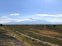 Ararat Mount, Armenia. Biblical Ararat Mount, view from Ararat valley, Armenia Royalty Free Stock Image