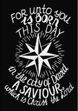 Biblical Christmas lettering For unto you is born a Savior, who is Christ the Lord with star Stock Photo
