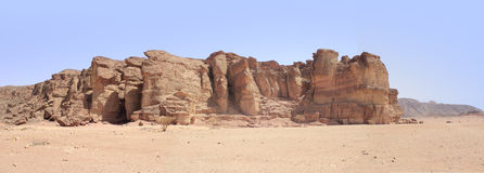 The biblical crater and valley of Timna in the south of Israel stock images