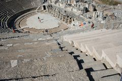 Biblical Ephesus Stadium. This is the large stadium in Ephesus where people rioted in anger to the message of St. Paul see Acts 19:23-41. This Roman arena was royalty free stock photography