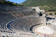 Biblical Ephesus Stadium. This is the large stadium in Ephesus where people rioted in anger to the message of St. Paul see Acts 19:23-41. This Roman arena was royalty free stock image