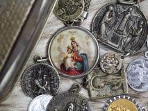 Biblical figures. Necklace pendants biblical royalty free stock photos