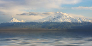 Biblical Flood. Biblical Ararat mountain surrounded by water Royalty Free Stock Photography