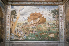 Biblical flood. In in a Christian fresco in italian church Stock Photography