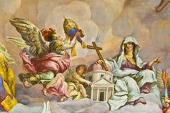 Biblical fresco. Detail of the biblical fresco of the Karlskirche in Vienna Stock Image