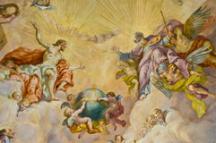Biblical fresco. Detail of the biblical fresco of the Karlskirche in Vienna Royalty Free Stock Photography